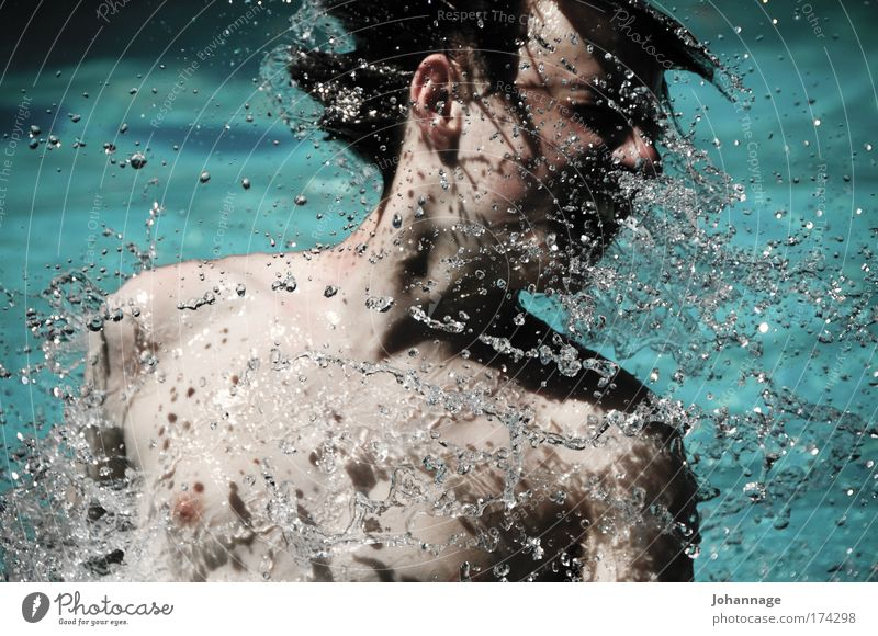 Toni Mensch Jugendliche Freude Kopf maskulin Schwimmen & Baden geschlossene Augen Junger Mann