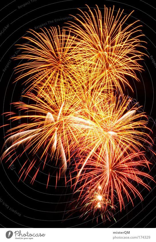 Erleuchtung. Himmel Freude Party Feste & Feiern Geburtstag groß Erfolg Feuer Kitsch Silvester u. Neujahr Zeichen Aussicht Langzeitbelichtung Feuerwerk Jahrmarkt