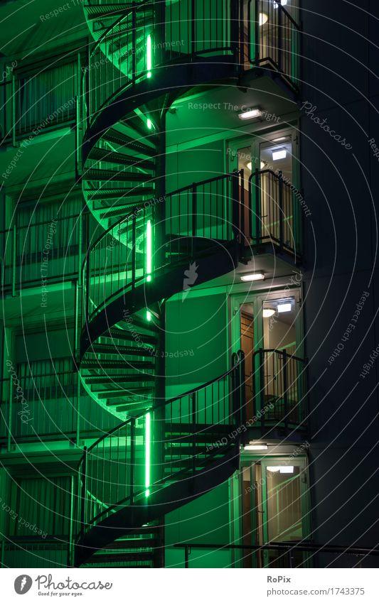 staircase Ausstellung Museum Kunstwerk Architektur Menschenleer Haus Hochhaus Industrieanlage Fabrik Parkhaus Bauwerk Gebäude Treppe Fassade Balkon Fenster Tür