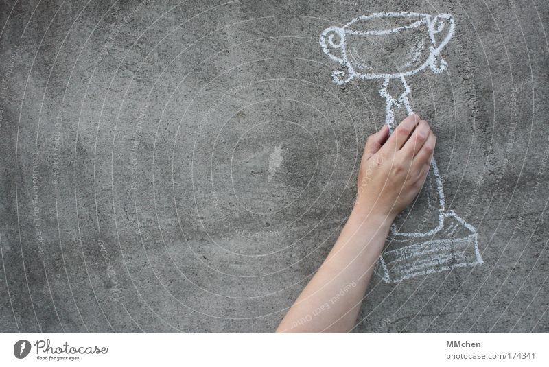 Belohnung Pokal Kreide Beton Wand Imagination Täuschung Hand Finger Erfolg Feste & Feiern Endspiel Sport Sportveranstaltung Meisterschaft Ballsport