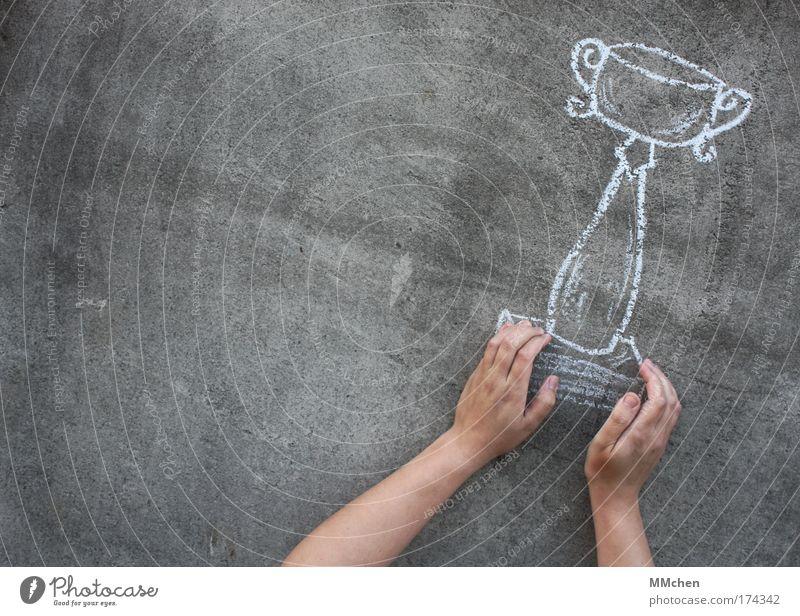 wir haben den pokal! Hand Freude Sport Wand Feste & Feiern Beton Erfolg Finger malen zeichnen Gefühle Kreide Sportveranstaltung Pokal Mensch Täuschung