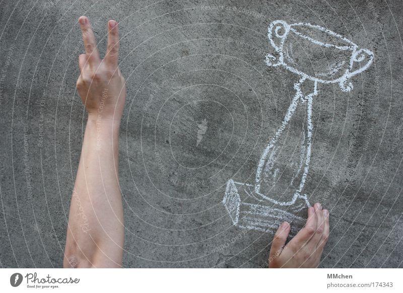 yippiiii Hand Freude Sport Wand Feste & Feiern Beton Erfolg Finger malen zeichnen Kreide Sportveranstaltung Pokal Täuschung Meister Ballsport
