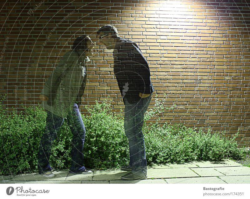 da streiten sich die geister Farbfoto Langzeitbelichtung Ganzkörperaufnahme Mensch maskulin 2 sprechen kämpfen Kommunizieren schreien Konflikt & Streit