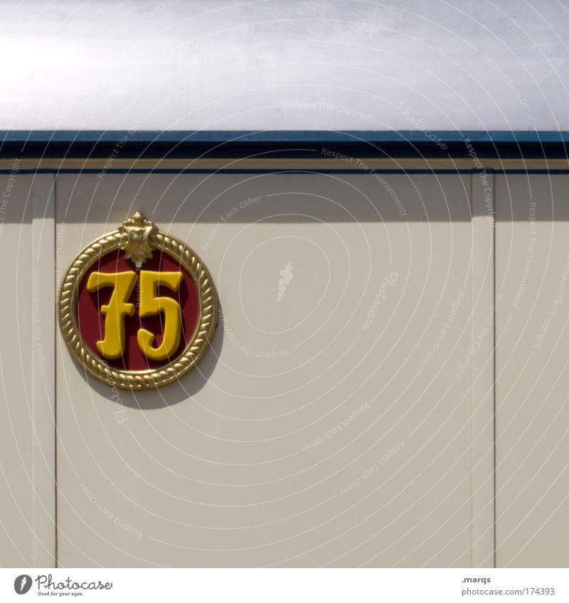 Dreiviertel rot gelb Wand Mauer Feste & Feiern Kraft Fassade Geburtstag Ziffern & Zahlen Lebensfreude Hinweis Jubiläum Klischee Mathematik 75