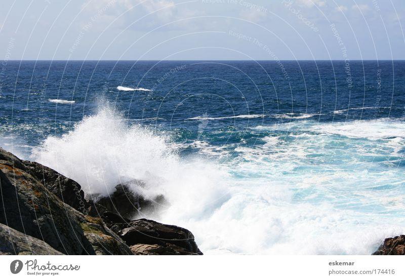 Brandung Natur Wasser schön Himmel Meer blau Ferien & Urlaub & Reisen Leben Bewegung Freiheit Kraft Wellen Küste Horizont Felsen frisch