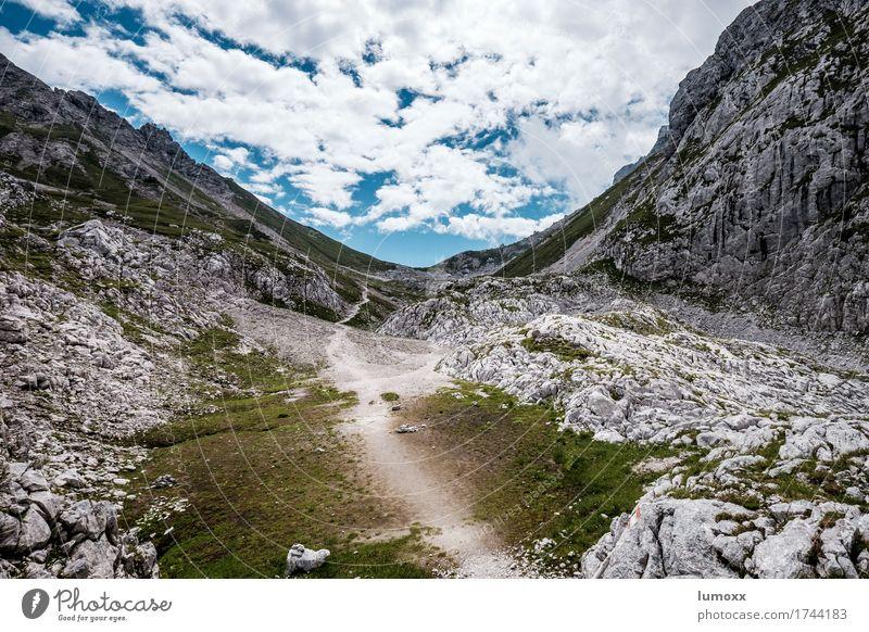 wandern Natur blau Sommer grün Landschaft Wolken Berge u. Gebirge Umwelt grau Felsen Fußweg Alpen Gosau