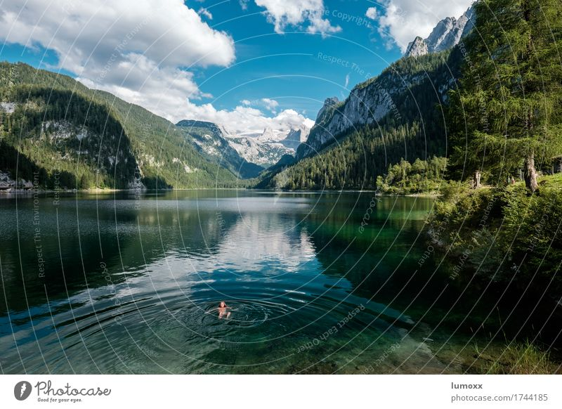 auffi obi eini Natur blau Sommer grün Wasser Landschaft Wolken Berge u. Gebirge Schwimmen & Baden See Felsen wandern Lebensfreude Abenteuer Seeufer Alpen