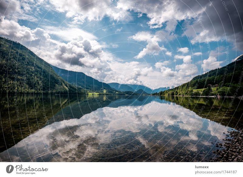 grundlsee Umwelt Natur Landschaft Wasser Himmel Wolken Sommer Seeufer Grundlsee blau grün weiß Österreich Salzkammergut Reflexion & Spiegelung Schwimmen & Baden