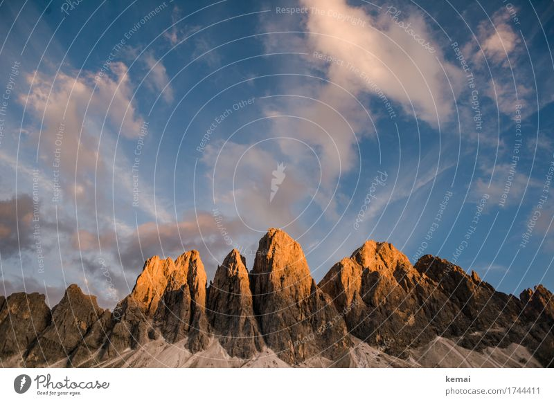 Alpenglühen Himmel Natur Ferien & Urlaub & Reisen Sommer schön Landschaft Erholung Wolken ruhig Ferne Berge u. Gebirge Umwelt Freiheit Felsen wandern