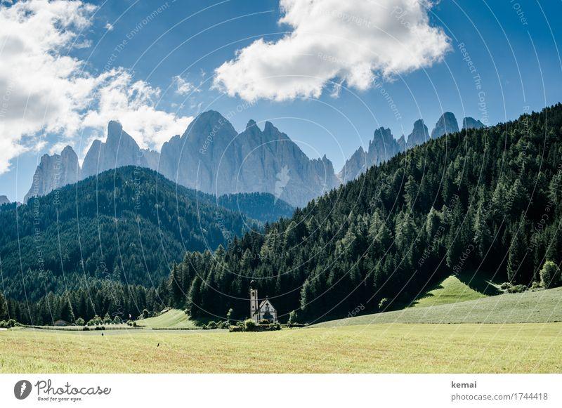 Heile Bergwelt Himmel Natur Ferien & Urlaub & Reisen blau Sommer schön grün Landschaft Wolken ruhig Ferne Wald Berge u. Gebirge Umwelt Wiese Tourismus