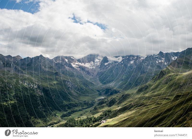 Talblick Himmel Natur Ferien & Urlaub & Reisen Sommer Landschaft Erholung Wolken ruhig Ferne Berge u. Gebirge Wärme Umwelt Wiese Tourismus Freiheit Ausflug