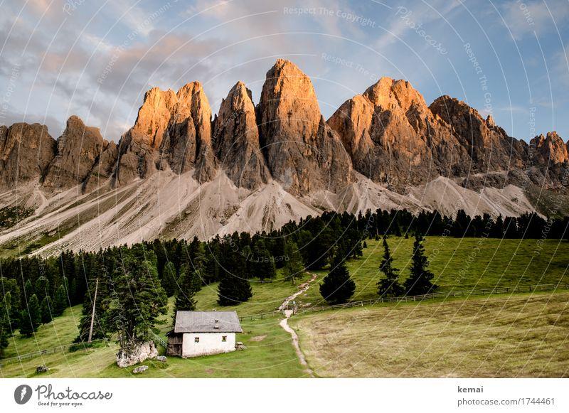 Bergabend Himmel Natur Ferien & Urlaub & Reisen Sommer Landschaft Erholung Wolken ruhig Ferne Berge u. Gebirge Wärme Leben Umwelt Freiheit Felsen Ausflug