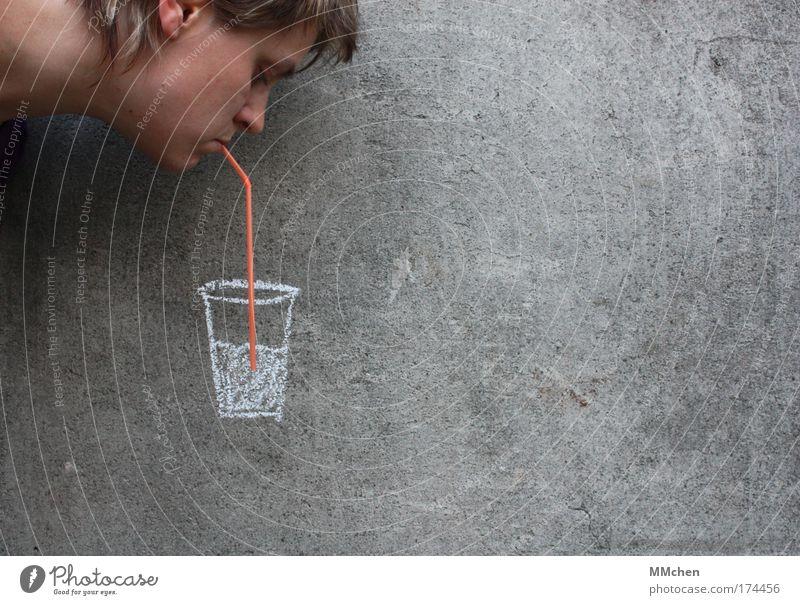 Durst? Gesicht kalt Kopf grau Glas Trinkwasser Getränk Wasser trinken Mensch Cocktail Alkohol Erfrischung Täuschung Einladung Saft