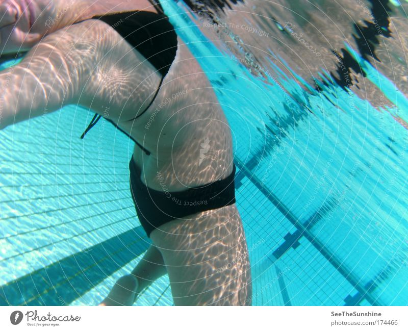 Die Kunst der Sonne. Jugendliche Wasser Freude Erholung feminin Glück Zufriedenheit frei Fröhlichkeit Unterwasseraufnahme Schwimmen & Baden Lebensfreude Bikini