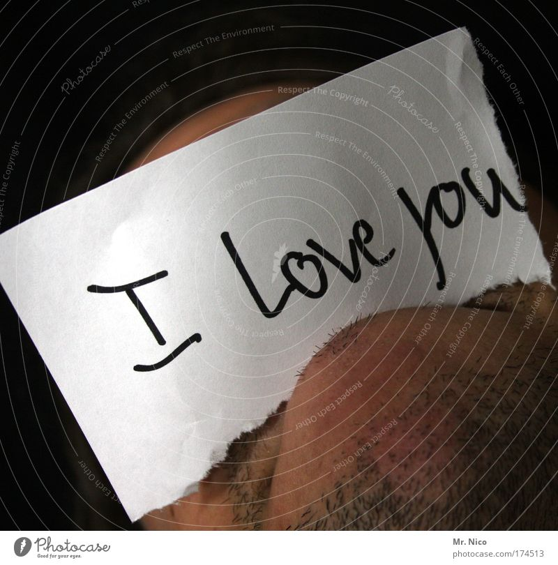 jag älskar dig Liebe Glück Mund Zusammensein maskulin Schriftzeichen Hoffnung Romantik Sehnsucht Symbole & Metaphern Zeichen Schmerz Bart Partnerschaft Zettel