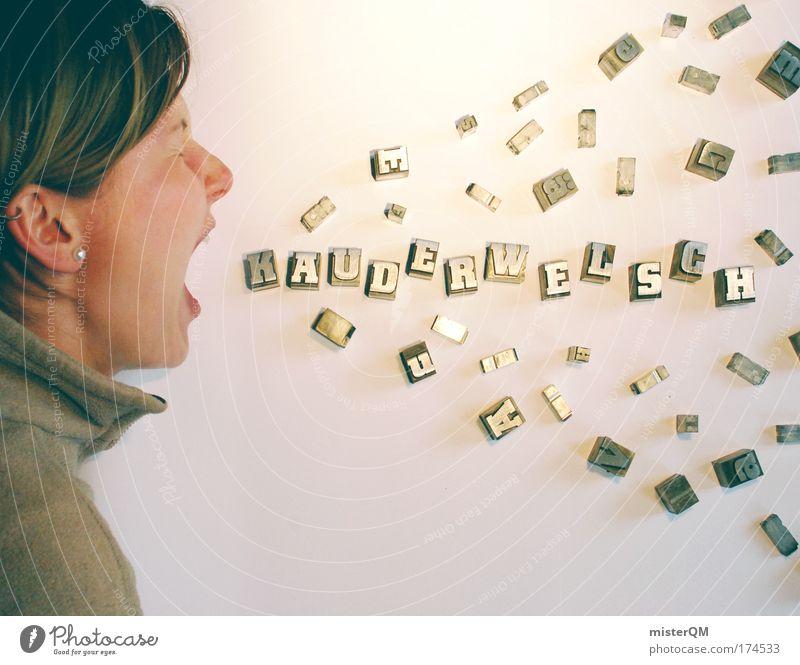 Female Communication. Frau Design Beruf Humor Gleichstellung feminin sprechen Mensch Technik & Technologie Schriftzeichen mehrfarbig Telekommunikation Bildung Kreativität Zeichen Idee