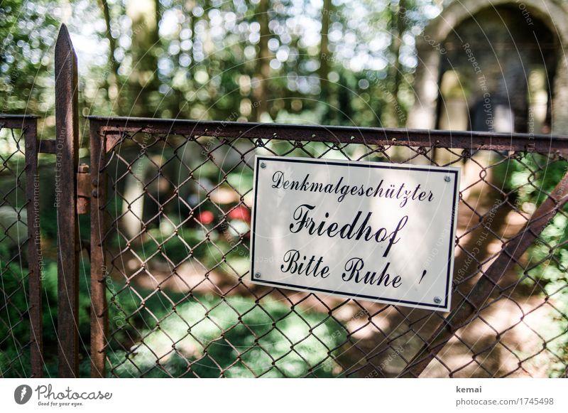 Bitte Ruhe! Zaun Tor Gartenzaun Friedhof Schriftzeichen Schilder & Markierungen Hinweisschild Warnschild authentisch außergewöhnlich Vorsicht ruhig privat