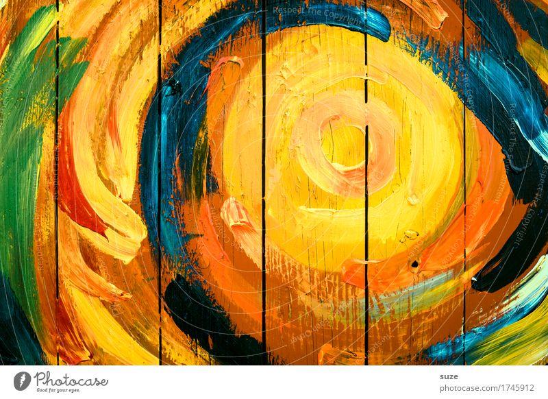 Sonnenkreis blau grün rot gelb Wand Graffiti Holz Linie orange Kreativität Fröhlichkeit einfach Kreis Zeichen Streifen