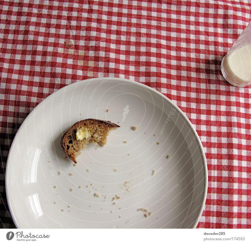 karges Frühstück weiß rot ruhig Stimmung Glas Ernährung Lebensmittel Häusliches Leben Getränk Romantik einfach trinken Frühstück Brot Teller kariert