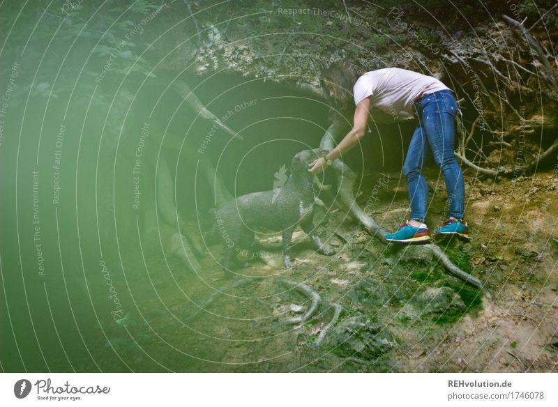 Julia | unterwegs mit Fritzi Mensch Frau Natur Hund Jugendliche Pflanze grün schön Junge Frau Baum Landschaft Tier Freude Wald 18-30 Jahre Erwachsene