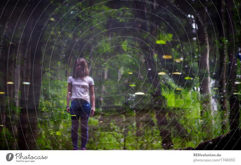 Julia | Spiegelbild feminin Junge Frau Jugendliche 1 Mensch 18-30 Jahre Erwachsene Umwelt Natur Landschaft Baum Blatt Wald Teich See Wasser stehen