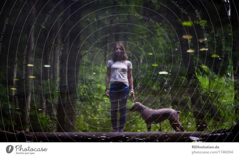 Julia und Fritzi | Spiegelung Ausflug Abenteuer Mensch feminin Junge Frau Jugendliche 1 18-30 Jahre Erwachsene Umwelt Natur Pflanze Baum Wald Teich See Quelle