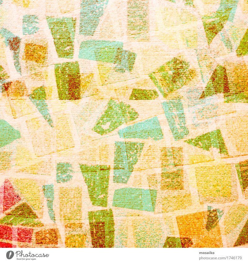 Graphische Formen Stil Design Mauer Wand Fassade Terrasse retro mehrfarbig gelb grün orange türkis Grunge Patchwork Fliesen u. Kacheln Papier Stein Batik malen