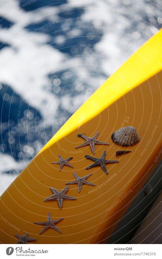 blau-gelb. Kunst ästhetisch Seestern Meerwasser fangen Muschel Meeresfrüchte Meerstraße Wasserfahrzeug Bootsfahrt Farbfoto mehrfarbig Außenaufnahme Experiment