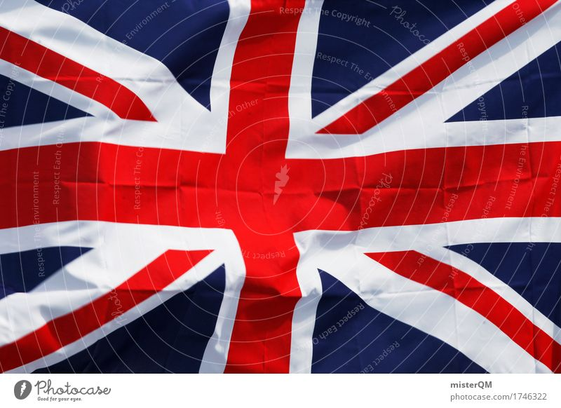 Tschüßiii. blau rot Kunst ästhetisch Europa Insel Fahne Kreuz Politik & Staat Abschied Großbritannien Nationalitäten u. Ethnien Außenseiter Weltmacht Union Jack