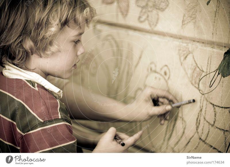 111 [Malstunde] Mensch Kind schön Graffiti Spielen Junge Kunst Kindheit authentisch Design Kommunizieren ästhetisch Schulgebäude Idee Bildung Kultur