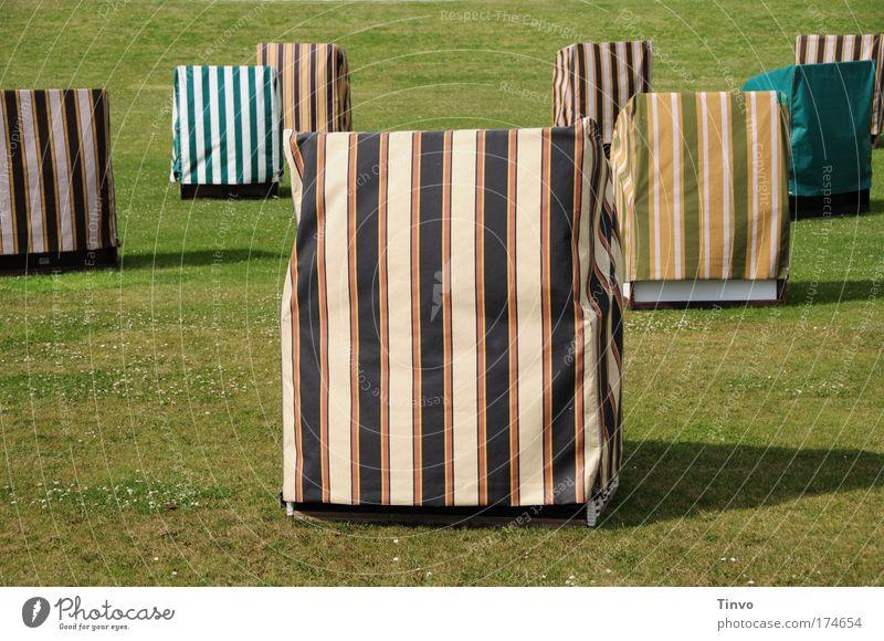 abgedeckte Strandkörbe auf einer Wiese ruhig Ferien & Urlaub & Reisen Tourismus Ausflug Sommer Sommerurlaub mehrfarbig Langeweile Enttäuschung Einsamkeit kalt