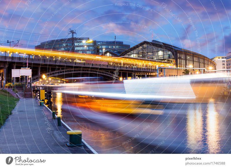 Bahnhof Friedrichstraße bei Nacht, Berlin Ferien & Urlaub & Reisen Tourismus Ausflug Sightseeing Städtereise Sommer Nachtleben Nachthimmel Fluss Spree