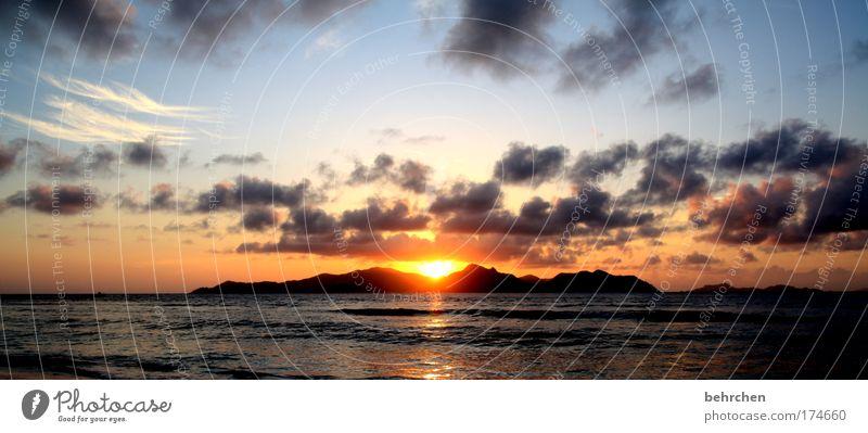 zeit für romantik Himmel Sonne Strand Ferien & Urlaub & Reisen Meer Wolken Ferne Erholung Freiheit Glück träumen Küste orange Wellen Zufriedenheit Zusammensein