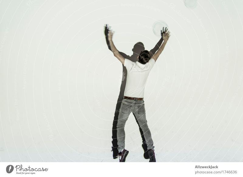 Schattenballett 13 Mensch Jugendliche Mann weiß Junger Mann Freude 18-30 Jahre Erwachsene Leben Sport Spielen grau springen maskulin Tanzen Lebensfreude