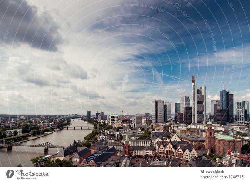 Frankfurt Skyline 2 Himmel Wolken Sommer Frankfurt am Main Hessen Stadt Stadtzentrum Altstadt Hochhaus Bankgebäude Sehenswürdigkeit ästhetisch Bekanntheit hoch