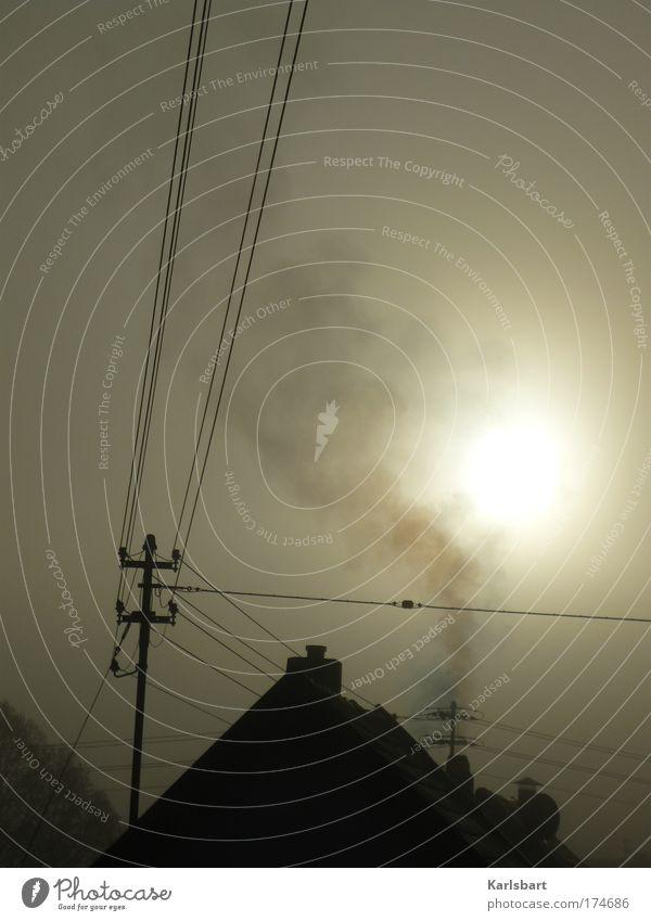 über den dächern. der smog. Natur Himmel Sonne Winter dunkel grau Luft dreckig Nebel Umwelt Energiewirtschaft Elektrizität Dach Häusliches Leben Rauch Sonnenenergie