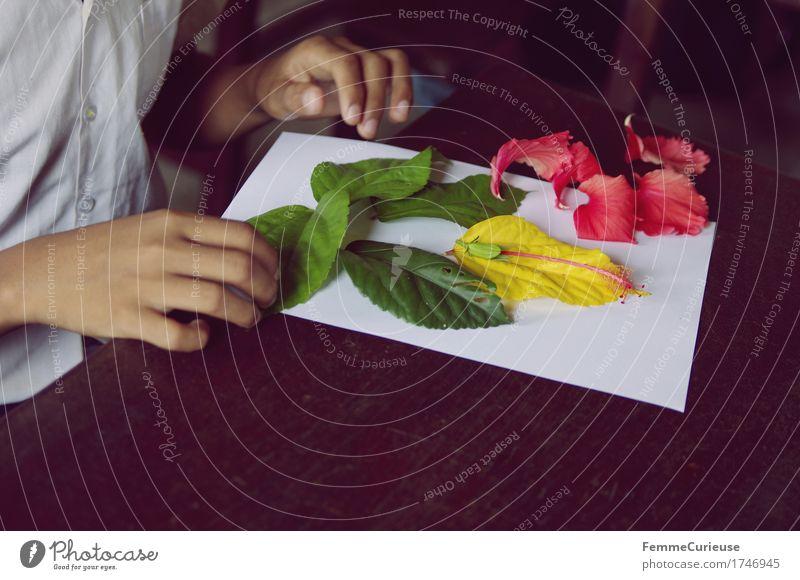 Aufgelegt. Mensch Kind Ferien & Urlaub & Reisen Jugendliche Pflanze Hand Blatt Mädchen gelb Blüte Junge Kunst rosa liegen Freizeit & Hobby 13-18 Jahre