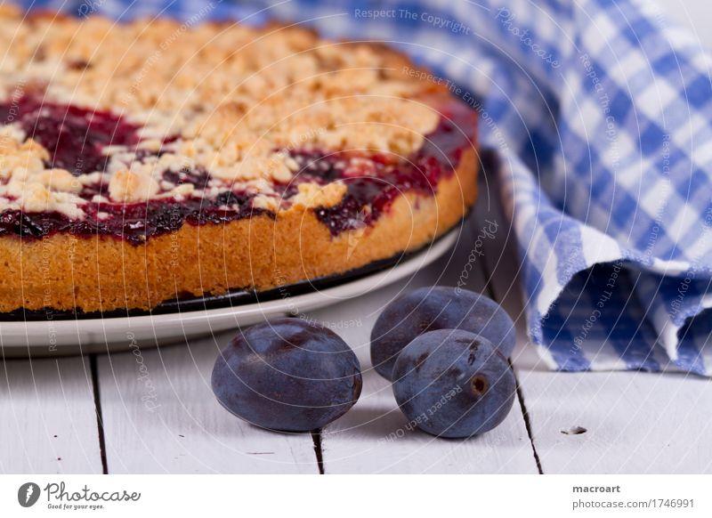 Pflaumenkuchen Streusel Obstkuchen Backwaren Konditorei backen Dessert Kaffee Kernobst Frucht landhausstil Landhaus obsternte Ernte reif blau Gesunde Ernährung