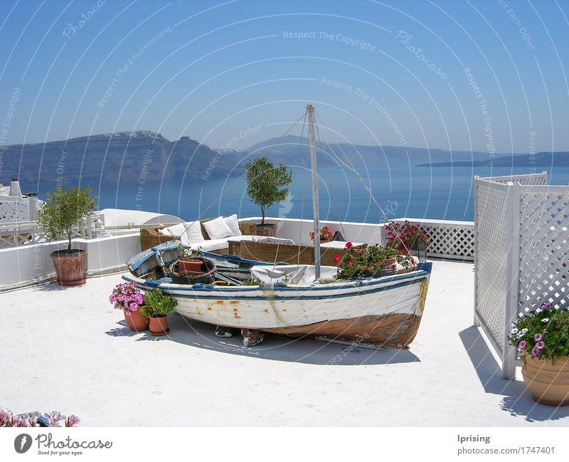 Boot auf dem Dach Ferien & Urlaub & Reisen Tourismus Ausflug Sightseeing Kreuzfahrt Sommerurlaub Meer Insel Haus Pflanze Blume Topfpflanze Gebäude Architektur
