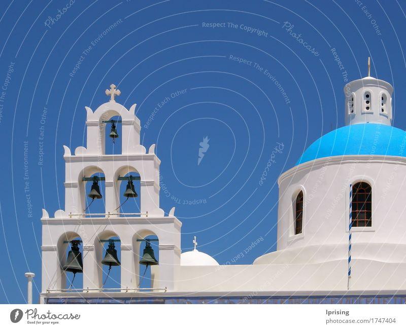Santorini Glocken Ferien & Urlaub & Reisen Tourismus Ausflug Sightseeing Sommerurlaub Meer Insel Altstadt Kirche Bauwerk Gebäude Architektur Dach