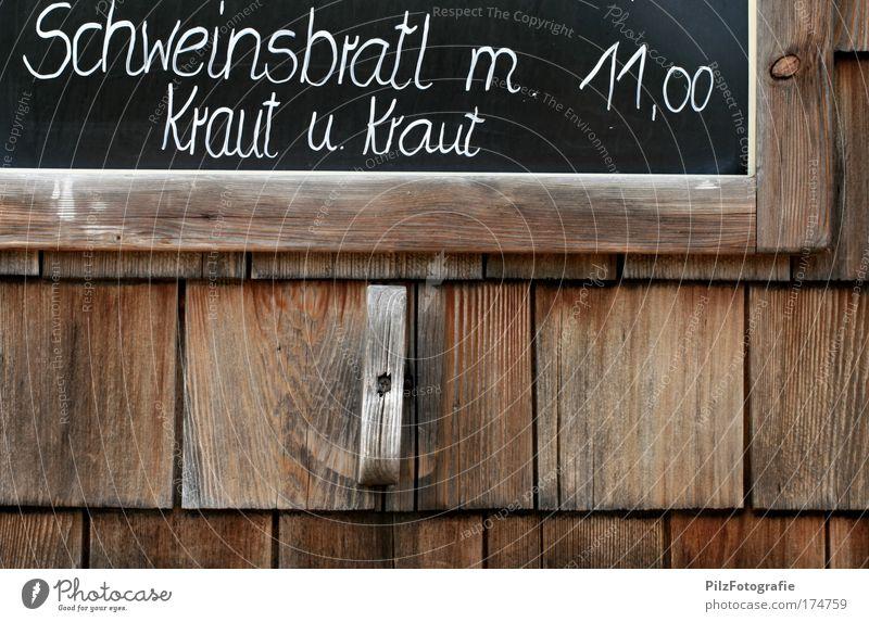 Krautrock(t) weiß Sommer Freude schwarz Wand Berge u. Gebirge Holz Mauer lustig wandern Lebensmittel Schilder & Markierungen Tourismus Schriftzeichen Hütte
