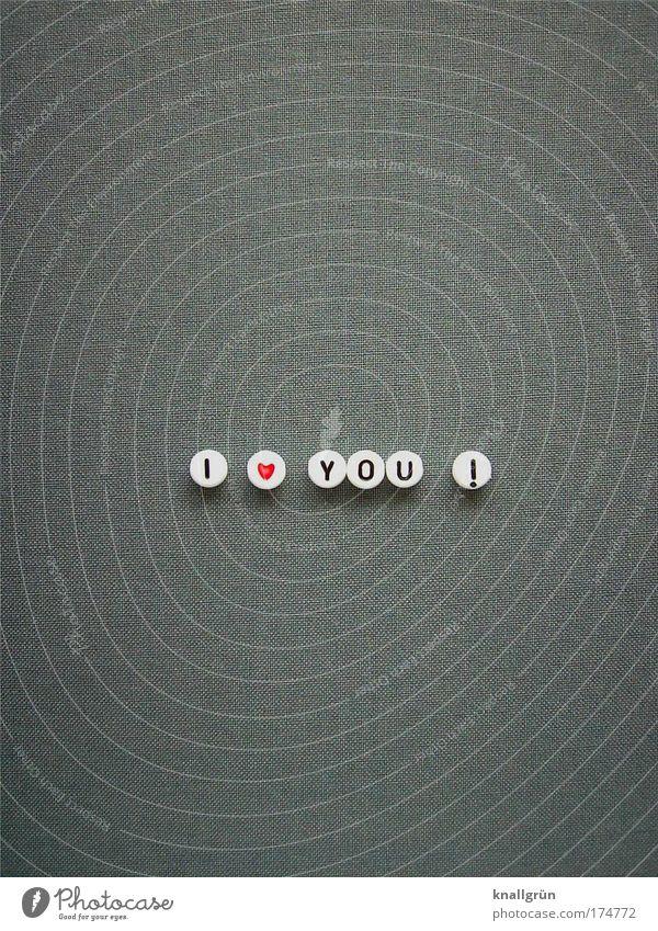 I LOVE YOU! weiß rot schwarz Liebe Gefühle grau Herz Schriftzeichen Zeichen Feste & Feiern Partnerschaft Zusammenhalt Verliebtheit Ehe Liebesbekundung