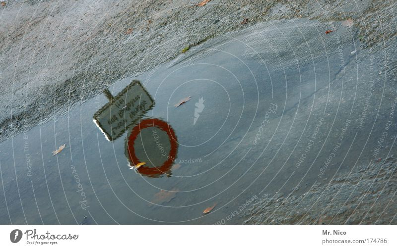 nasses schild Außenaufnahme Wasser Klima Klimawandel Wetter schlechtes Wetter Regen Wege & Pfade Zeichen Hinweisschild Warnschild Verkehrszeichen Umwelt feldweg