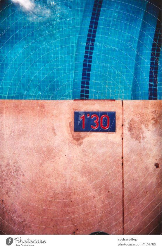 """51.1811"""" blau Wasser Ferien & Urlaub & Reisen Erholung Sport Bewegung Schilder & Markierungen Lifestyle Ecke Ziffern & Zahlen Schwimmbad Zeichen Sommerurlaub"""