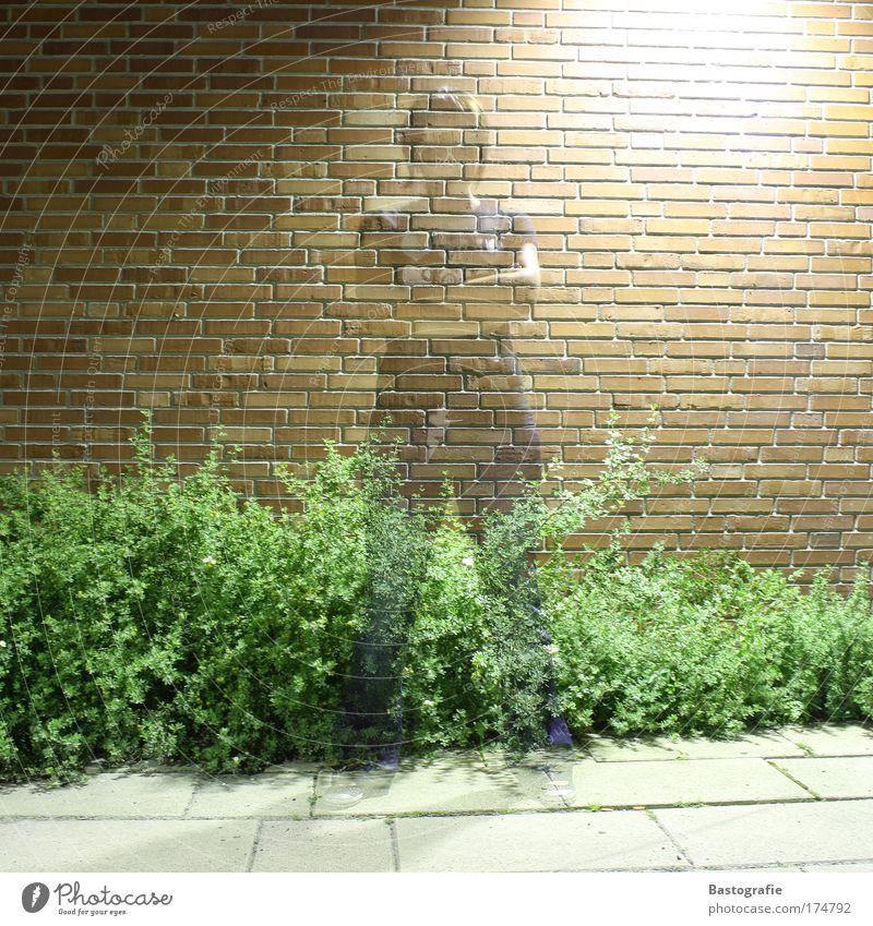 frauen sind durchschaubar ! Farbfoto 1 Mensch Surrealismus Frau Geister u. Gespenster Geisterstunde durchsichtig Wand ziegelrot Langzeitbelichtung