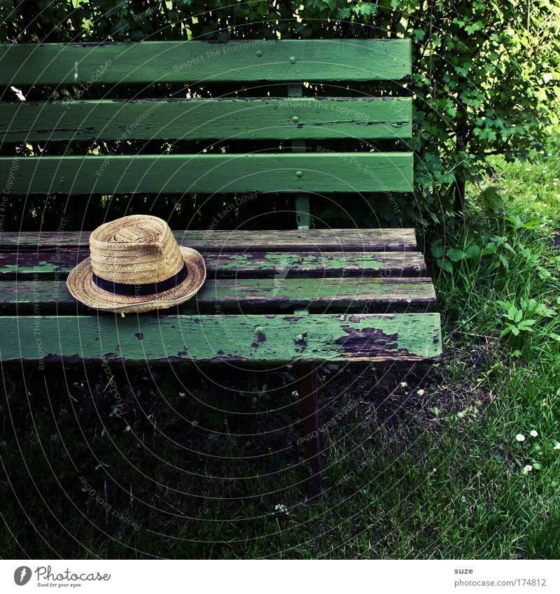 Hut Ruhestand Feierabend liegen alt authentisch natürlich grün ruhig Vergangenheit Vergänglichkeit Zeit Bank Holz vergessen Parkbank Holzbank Gartenbank