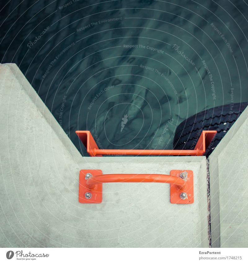 Hafenbecken Wasser Architektur Dekoration & Verzierung Beton Metall Linie grau rot schwarz Leiter festhalten Halt Reifen Anlegestelle Grafische Darstellung