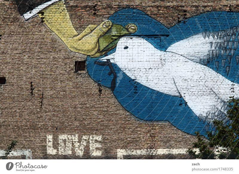 TonTaubenSchießen Stadt blau weiß Hand Wand Liebe Graffiti Mauer Kunst fliegen braun Vogel Fassade Schriftzeichen Zeichen Frieden