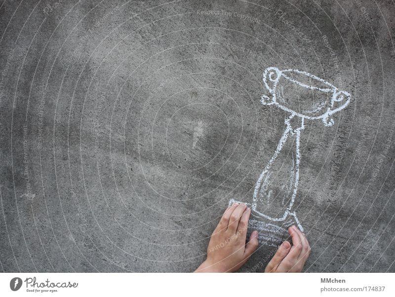 Pott Hand Freude Sport Wand Feste & Feiern Beton Erfolg Finger malen zeichnen Kreide Sportveranstaltung Pokal Täuschung Meister Ballsport