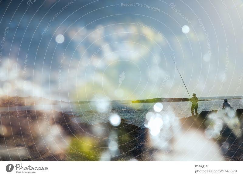 Angler am Meer Mensch Ferien & Urlaub & Reisen Mann blau Sommer Sonne Wolken ruhig Ferne Erwachsene Freiheit Tourismus maskulin Freizeit & Hobby Ausflug